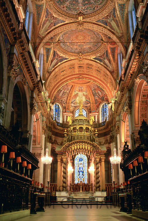 The interior of St Paul's Cathedral which was designed by architect Sir Christopher Wren, London, England