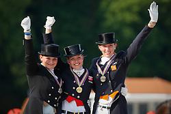 Podium Individual Young Riders <br /> 1. Cathrine Dufour<br /> 2. Juliette Piotrowski<br /> 3. Stephanie Kooijman<br /> European Championship Dressage Young Riders<br /> Compiegne 2013<br /> © Dirk Caremans