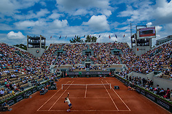 May 30, 2018 - Paris, Ile-de-France, France - Jaume Munar of Spain serves against Novak Djokovic of Serbia during the second round at Roland Garros Grand Slam Tournament - Day 4 on May 30, 2018 in Paris, France. (Credit Image: © Robert Szaniszlo/NurPhoto via ZUMA Press)