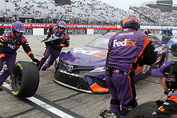 July 22, 2018 - Loudon, NH, U.S. - LOUDON, NH - JULY 22: Denny Hamlin's crew pits his care during the Monster Energy Cup Series Foxwoods Resort Casino 301 race on July, 21, 2018, at New Hampshire Motor Speedway in Loudon, NH. (Photo by Malcolm Hope/Icon Sportswire) (Credit Image: © Malcolm Hope/Icon SMI via ZUMA Press)