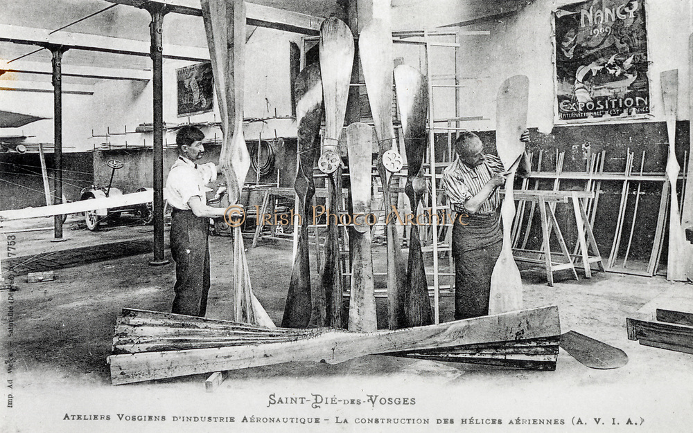 Production of airplane propellers in the workshops of Vosgiens d'Industrie Aeronautique, Vosges, France, 1910.