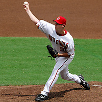 18 July 2007:  Washington Nationals pitcher Jason Bergmann (57) pitches in the second inning against the Houston Astros.  Bergmann went 6 inning to pick up his second win of the year as the Nationals defeated the Astros 7-6 at RFK Stadium in Washington, D.C.  ****For Editorial Use Only****