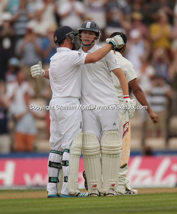 Gary Ballance celebrates his century (with Ian Bell, left) during the third Investec Test Match between England and India at the Ageas Bowl, Southampton. Photo: Graham Morris/www.cricketpix.com (Tel: +44 (0)20 8969 4192; Email: graham@cricketpix.com) 27/07/14