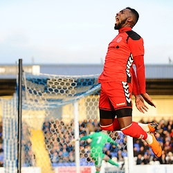 TELFORD COPYRIGHT MIKE SHERIDAN 22/12/2018 - GOAL. Amari Morgan-Smith of AFC Telford scores to make it 1-0 during the Vanarama Conference North fixture between Chester FC and AFC Telford United at the Swansway Deva Stadium, Chester.