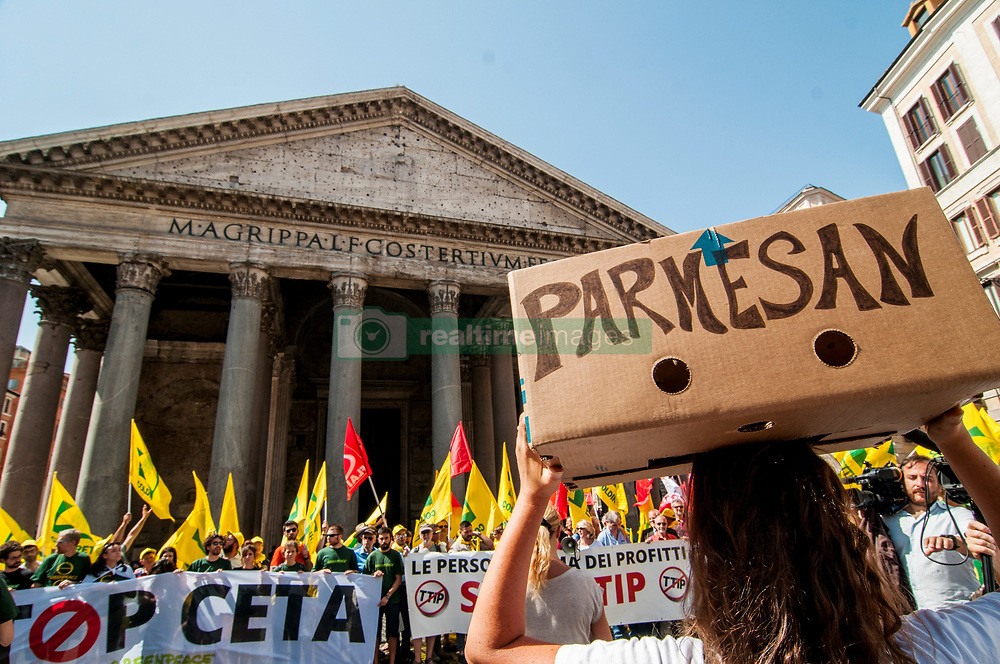 June 27, 2017 - Rome, Italy, Italy - Demonstration in Rome against Ceta (Comprehensive Economic and Trade Agreement), the free trade agreement between Canada and UE in these days being discussed in the Senate. (Credit Image: © Patrizia Cortellessa/Pacific Press via ZUMA Wire)