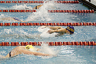 Bellbrook senior Katherine Amos (right) placed third with a time of  1:01.10 in the 100 yard butterfly during the Girls Division II District Swimming Tournament at the Corwin Nixon Natatorium at Miami University, Saturday, February 16, 2008.  Alter sophomore Christy Bianco (bottom) was close behind Amos in this heat.