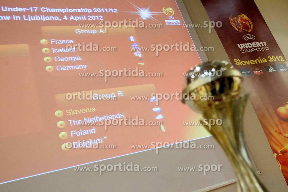 Trophy and results of the Final Round Draw of 11th UEFA European U17 Championship 2011/12, on April 4, 2012, in Ljubljana, Slovenia. (Photo by Vid Ponikvar / Sportida.com)