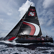 Purchased this year by Seng Huang Lee, Scallywag is Syd Fischer's ex Ragamuffin 100. Contested her first Sydney Hobart in 2014, finishing third on line, then second on line in 2015, after a thrilling match race from Tasman Light with Rambler. In the lead-up, was second on line to Wild Oats XI in the Transpac Race, took line honours in the Hong Kong Vietnam Race, breaking the record Fischer set with Ragamuffin 90 in 2013. The hull of this yacht was designed by Andy Dovell, but her modified deck came from Investec Loyal which Fischer purchased and raced to Hobart in 2012 and 2013.<br /> <br /> New to racing, Lee kept the boat's skipper, David Witt, and other Ragamuffin crew. Mods were undertaken, but the keel ram exploded in 2016 Sydney Gold Coast race while she was looking good. Scallywag broke the Groupama around New Caledonia Race monohull record in September for second overall to Beau Geste. Smashed Beau Geste's (the TP52) Hong Kong to Hainan record in early November. Owner of the Hayman Island resort, 41 year-old Malaysian born Lee spent his formative years in Sydney. From his verandah in Elizabeth Bay, he watched the boats leave the CYCA each Boxing Day and got hooked. Meeting Witt in Hong Kong, the idea of buying Ragamuffin 100 was hatched.