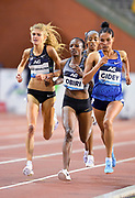 Letsenbet Gidey (ETH), Konstanze Klosterhalfen (GER) and Hellen Obiri (KEN) place second (14:29.54), third (14:29.89) and fourth (14:33.90) in the women's 5,000m during the IAAF Diamond League final at the 44th Memorial Van Damme at King Baudouin Stadium, Friday, Sept. 6, 2019, in Brussels, Belgium. (Jiro Mochizuki/Image of Sport)