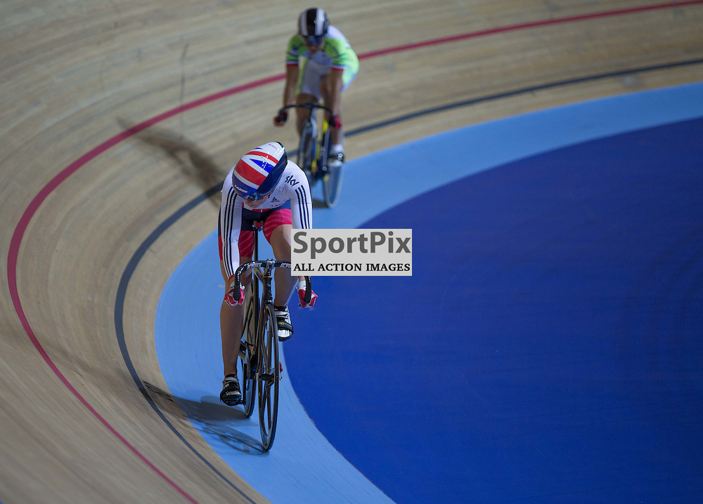 Jessica Varnish of Team GB in the Women's Sprint at the Revoultion Series 2015/6 Round 1 Derby, Day 2, on 15 August 2015 ( (Photo by Mike Poole - Photopoole)