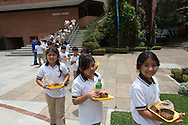 schoolgirls in fron of the Popol Vuh Museum in guatamala city