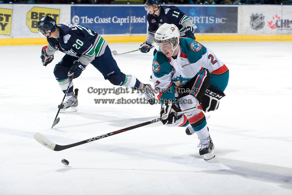 KELOWNA, CANADA, FEBRUARY 8: Jesse Lees #2 of the Kelowna Rockets skates with the puck as the Seattle Thunderbirds visit the Kelowna Rockets on February 8, 2012 at Prospera Place in Kelowna, British Columbia, Canada (Photo by Marissa Baecker/www.shootthebreeze.ca) *** Local Caption ***