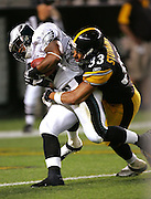 PITTSBURGH - AUG 15:  Running back Bruce Perry #35 of the Philadelphia Eagles scores a touchdown on an 8 yard run while being tackled by safety Russell Stuvaints #33 of the Pittsburgh Steelers during a preseason game at Heinz Field in Pittsburgh, Pennsylvania on August 15, 2005. The Steelers defeated the Eagles 38-31. ©Paul Anthony Spinelli *** Local Caption *** Bruce Perry, Russell Stuvaints