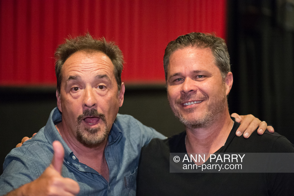 """Bellmore, New York, USA. 19th July 2017. Comedian LOU DIMAGGIO makes a funny face as Director BRAD KUHLMAN looks at him hamming it up, at the Long Island International Film Expo LIIFE 2017.  Kuhlman directed the feature film """"Where Have You Gone, Lou DiMaggio?"""" a documentary about DiMaggio comptemplating a comeback after being away from the stage for 20 years."""