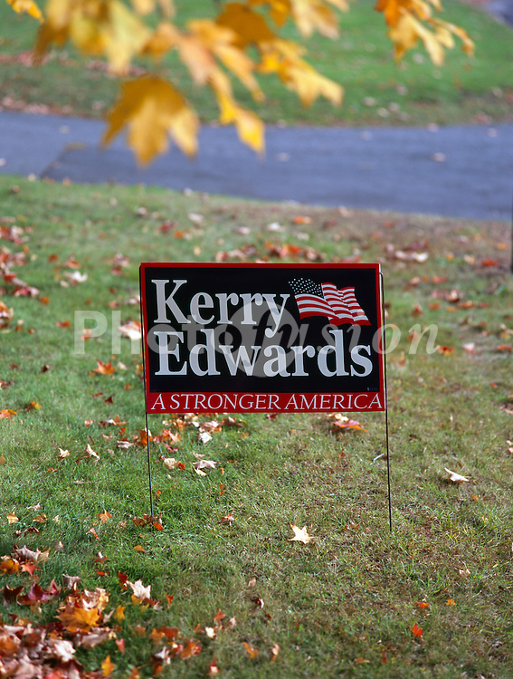 Political billboard during US presidential election Connecticut USA Oct 2004