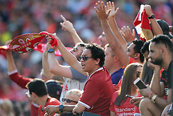 July 28, 2018 - Ann Arbor, Michigan, United States - Fans cheer during an International Champions Cup match between Manchester United and Liverpool at Michigan Stadium in Ann Arbor, Michigan USA, on Wednesday, July 28,  2018. (Credit Image: © Amy Lemus/NurPhoto via ZUMA Press)