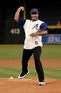 PHOENIX, AZ - APRIL 06:  David Johnson of the Arizona Cardinals throws out the ceremonial first pitch for the MLB game between the San Francisco Giants and Arizona Diamondbacks at Chase Field on April 6, 2017 in Phoenix, Arizona.  (Photo by Jennifer Stewart/Getty Images)