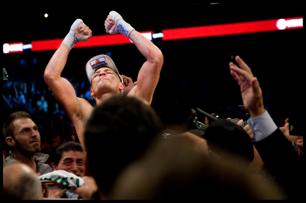 Abner Mares celebrates his win over Joseph Agbeko during Saturday's rematch at the Honda Center in Anaheim.