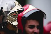 May 23-27, 2018: Monaco Grand Prix. Kimi Raikkonen (FIN), Scuderia Ferrari, SF71H reflected in a Monaco marshals helmet