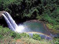 """Wailua Falls before big guardrail, you could """"hang"""" over the side to get the rainbow in the image."""