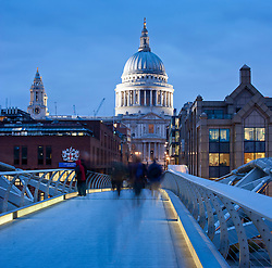 and the Millennium bridge at twilight