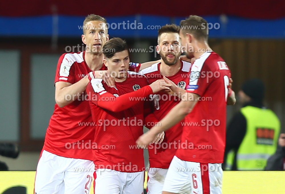 24.03.2017, Ernst Happel Stadion, Wien, AUT, FIFA WM 2018 Qualifikation, Oesterreich vs Moldawien, Gruppe D, im Bild Torjubel Marc Janko (AUT), Marcel Sabitzer (AUT), Guido Burgstaller (AUT) und Stefan Ilsanker (AUT) // during the FIFA World Cup 2018, group D qualifying match between Austria and Moldova at the Ernst Happel Stadion in Wien, Austria on 2017/03/24. EXPA Pictures © 2017, PhotoCredit: EXPA/ Thomas Haumer