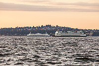 Two Washington State Ferries passing each other on Elliott Bay with the Magnolia neighborhood of Seattle in the background. Washington State, USA.