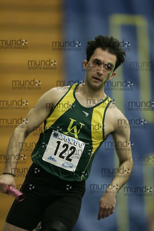 (Windsor, Ontario---12 March 2010) Goran Miletic of University of Alberta Golden Bears   competes in the  at the 2010 Canadian Interuniversity Sport Track and Field Championships at the St. Denis Center. Photograph copyright Geoff Robins/Mundo Sport Images. www.mundosportimages.com