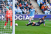 Birmingham City Women defender Kerys Harrop (6) tackles Manchester City Women forward Janine Beckie (11) during the FA Women's Super League match between Manchester City Women and BIrmingham City Women at the Sport City Academy Stadium, Manchester, United Kingdom on 12 October 2019.