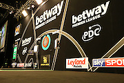 The main stage during the Premier League Darts  at the Motorpoint Arena, Cardiff, Wales on 31 March 2016. Photo by Shane Healey.