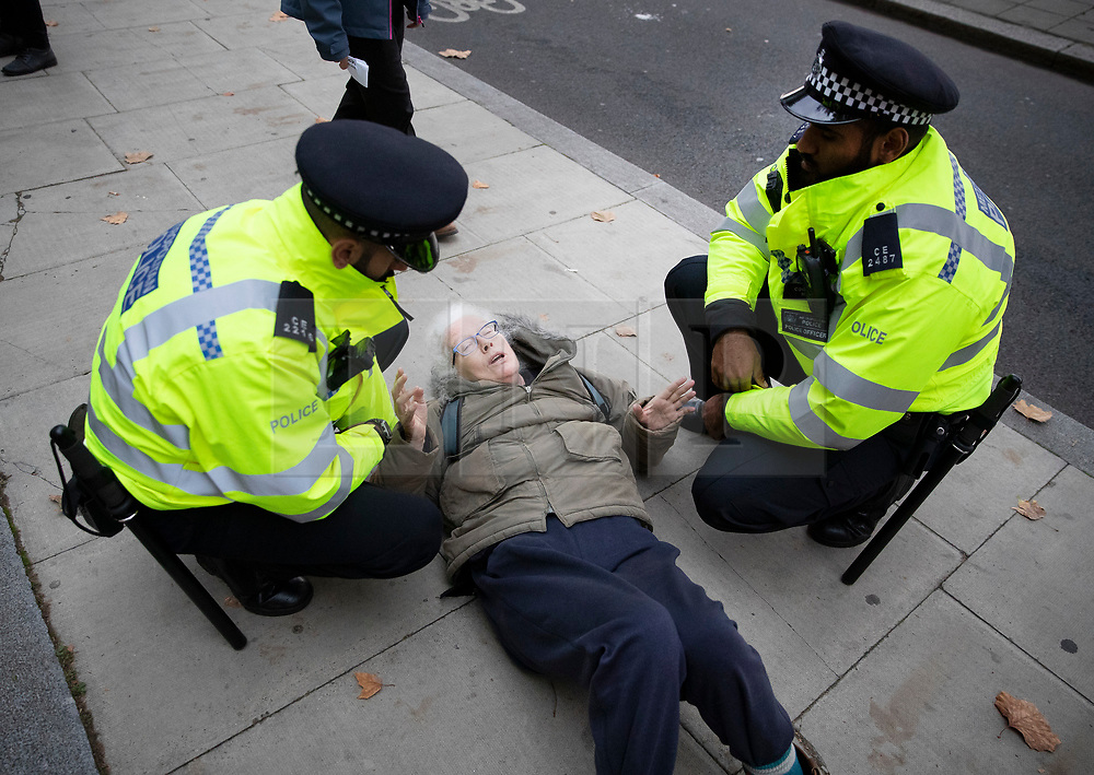 © Licensed to London News Pictures. 07/10/2019. London, UK. An elderly Extinction Rebellion protestor is detained by police on Embankment near the Ministry of Defence in central London . Activists will converge on Westminster blockading roads in the area for at least two weeks calling on government departments to 'Tell the Truth' about what they are doing to tackle the Emergency. Photo credit: Peter Macdiarmid/LNP