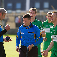 discussion after sideline scuffle during the Intermediate Football Final Replay between Corofin and Wolfe Tones