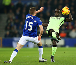 Bacary Sagna of Manchester City is closed down by Everton's Tom Cleverley  - Mandatory byline: Matt McNulty/JMP - 06/01/2016 - FOOTBALL - Goodison Park - Liverpool, England - Everton v Manchester City - Capital One Cup Semi-final