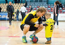 Stas Skube with his son after the handball match between RD Slovan and RK Gorenje Velenje in Round #10 of 1. NLB Leasing liga 2015/16, on November 13, 2015 in Arena Kodeljevo, Ljubljana, Slovenia. Photo by Vid Ponikvar / Sportida