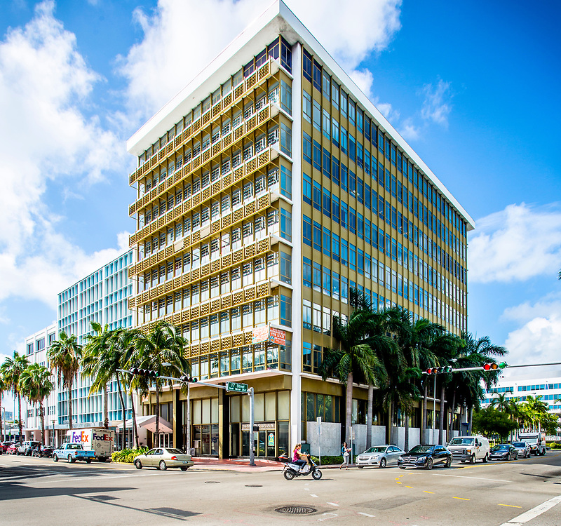 1688 Meridian Avenue, an office building in Miami Beach, designed by Miami Modern master architect Morris Lapidus in 1961