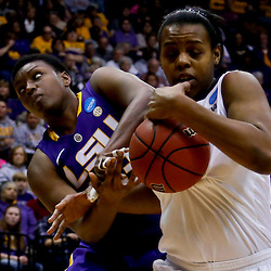 Mar 26, 2013; Baton Rouge, LA, USA; LSU Tigers forward Shanece McKinney (23) and Penn State Lady Lions forward Talia East (5) fight over possession in the first half during the second round of the 2013 NCAA womens basketball tournament at Pete Maravich Assembly Center. Mandatory Credit: Derick E. Hingle-USA TODAY Sports