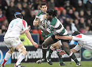 Leicester, GREAT BRITAIN,  Tiger Seru RABENI, tackles as he runs through the midfield, during the Guinness Premiership game, Leicester Tigers vs Newcastle Falcons at Welford Road. 26.01.2008 [Mandatory Credit Peter Spurrier/Intersport Images]