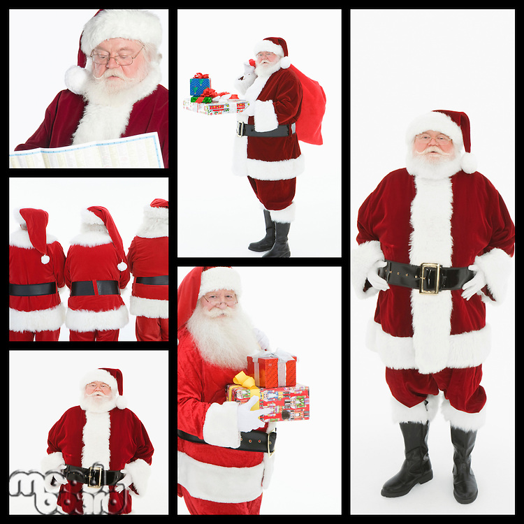 Collage of men dressed at Santa Clause