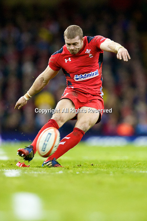 01.02.2014 Cardiff, Wales. Wales fullback Leigh Halfpenny (Cardiff Blues) during the Six Nations game between Wales and Italy from the Millennium Stadium.