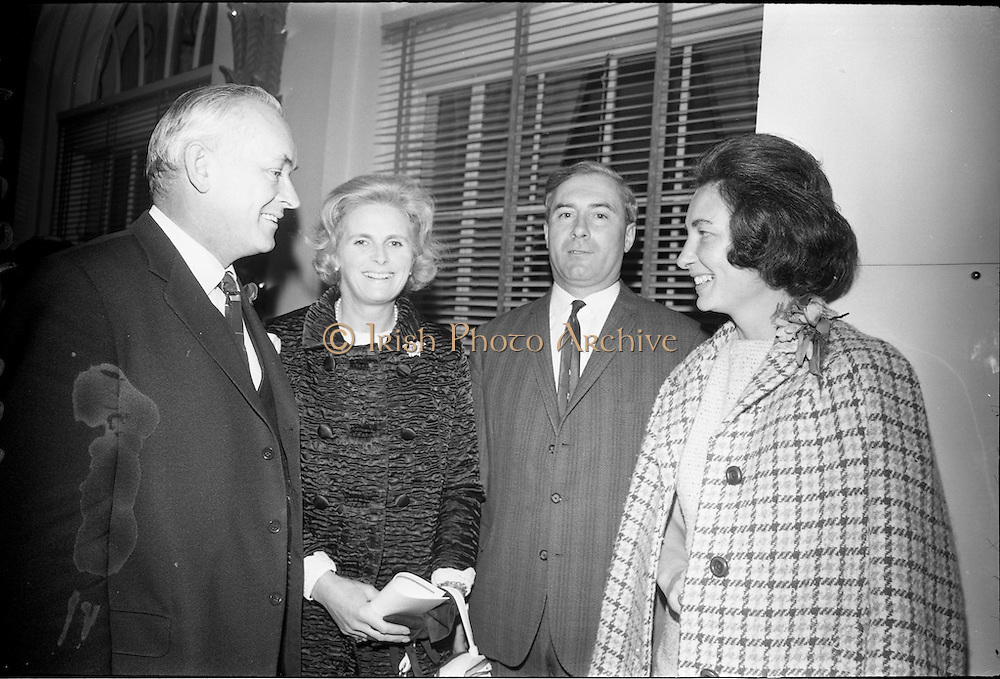 13/11/1967<br /> 11/13/1967<br /> 13 November 1967<br /> Irish Leather Federation, Leather Fashions at the Gresham Hotel, Dublin.<br /> Pictured are L-R: Mr. Hugh McCann, Secretary of the Department of External Affairs; Mrs Montague Kavanagh; Mr. D. O'Brien of Dungarvan Leathers and Mrs. Hugh McCann.
