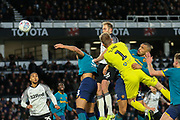 Matthew Clarke  scores a headed goal during the EFL Sky Bet Championship match between Derby County and Hull City at the Pride Park, Derby, England on 18 January 2020.