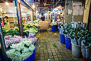 Flower sellers at the Wansheng Market in Shanghai, China