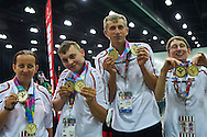 (L-R) SO Poland athletes Beata Boncol and Patryk Jaszcz and  Mateusz Kaczmarek and Teresa Cichy pose with gold medals after medal ceremony after bowling competition during fifth day of the Special Olympics World Games Los Angeles 2015 on July 29, 2015 at Los Angeles Convention Centre in Los Angeles, USA.<br /> <br /> USA, Los Angeles, July 29, 2015<br /> <br /> Picture also available in RAW (NEF) or TIFF format on special request.<br /> <br /> For editorial use only. Any commercial or promotional use requires permission.<br /> <br /> Adam Nurkiewicz declares that he has no rights to the image of people at the photographs of his authorship.<br /> <br /> Mandatory credit:<br /> Photo by © Adam Nurkiewicz / Mediasport