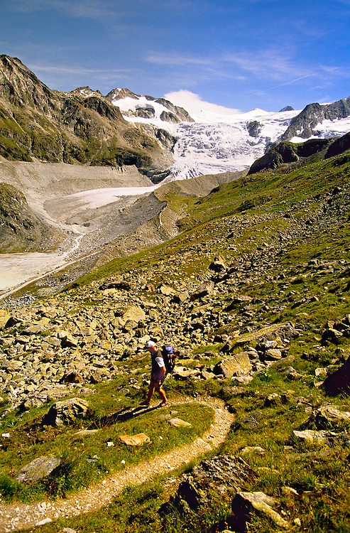 Hiking down Col du Tsate (Glacier de Moiry in back), Haute Route, Switzerland6