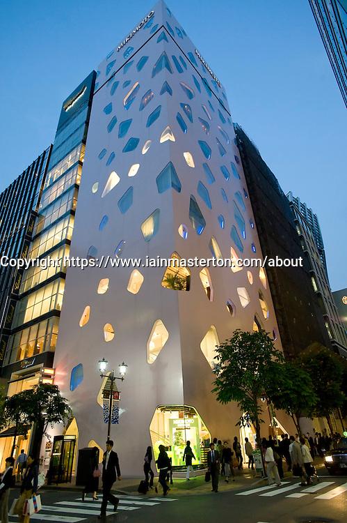 Striking modern architecture of Mikimoto pearl shop in Ginza Tokyo Japan