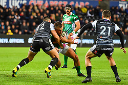 Alberto Sgarbi of Benetton Treviso is tackled by Owen Watkin of Ospreys<br /> <br /> Photographer Craig Thomas/Replay Images<br /> <br /> Guinness PRO14 Round 4 - Ospreys v Benetton Treviso - Saturday 22nd September 2018 - Liberty Stadium - Swansea<br /> <br /> World Copyright © Replay Images . All rights reserved. info@replayimages.co.uk - http://replayimages.co.uk