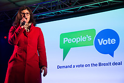 London, UK. 15th January, 2019. Layla Moran, Liberal Democrat MP for Oxford West and Abingdon, addresses pro-EU activists attending a People's Vote rally in Parliament Square as MPs vote in the House of Commons on Prime Minister Theresa May's proposed final Brexit withdrawal agreement.