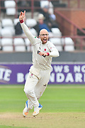 Jack Leach of Somerset appeals for a wicket during the Specsavers County Champ Div 1 match between Somerset County Cricket Club and Middlesex County Cricket Club at the Cooper Associates County Ground, Taunton, United Kingdom on 26 September 2017. Photo by Graham Hunt.