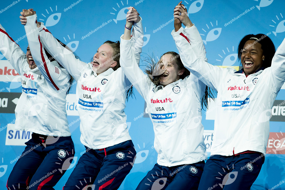 Team United States USA<br /> Women's Medley 4X100m Final Gold Medal<br /> Day 17 30/07/2017 <br /> XVII FINA World Championships Aquatics<br /> Duna Arena Budapest Hungary  <br /> Photo &copy;A.Masini/Deepbluemedia/Insidefoto