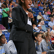 Chicago Sky Head Coach Pokey Chatman yells instructions to her defense in the second half of a WNBA preseason basketball game between the Chicago Sky and the Washington Mystics Tuesday, May. 13, 2014 at The Bob Carpenter Sports Convocation Center in Newark, DEL.